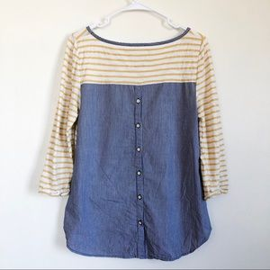 anthropologie postmark   striped back button top